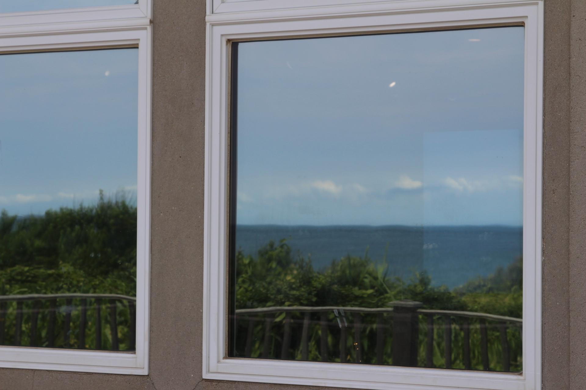 Ocean reflection in glass